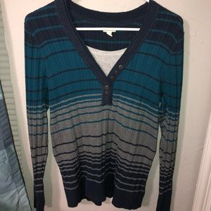 Blue and gray striped sweater